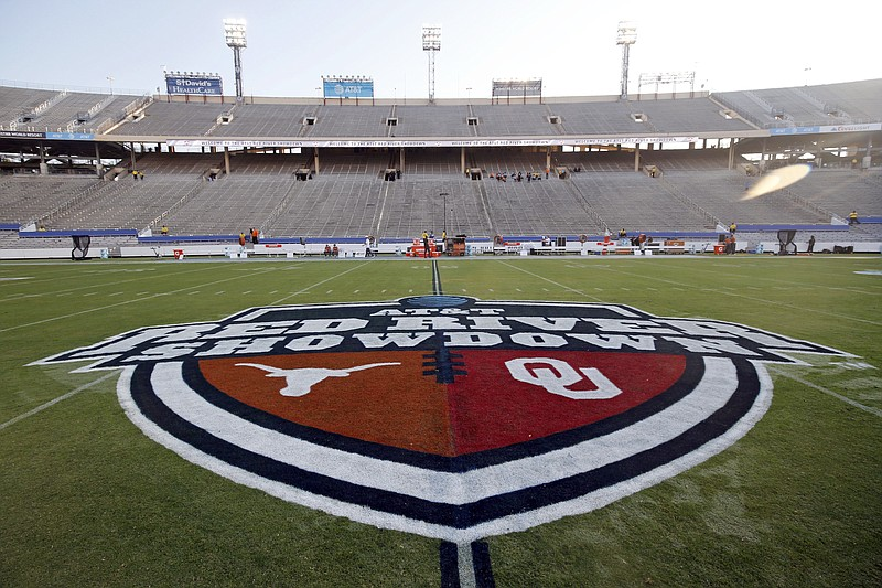 The Red River Showdown logo is displayed on the field of the Cotton Bowl, prior to an Oct. 10, 2020, NCAA football game between the University of Texas and Oklahoma in Dallas. - Photo by Michael Ainsworth of The Associated Press