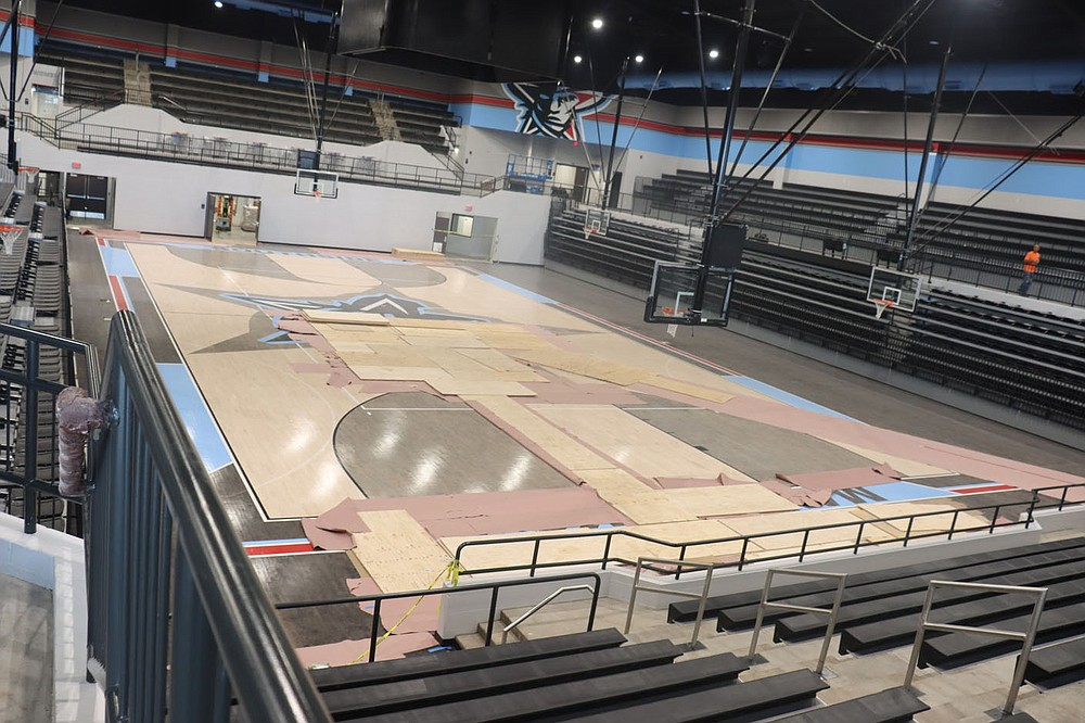 The new sports arena at Fort Smith Southside High School is nearing completion. The facility will host 2.300 fans and will allow the school to host state tournament play in Class 6A. The arena is expected to open in the next few weeks. Submitted photo Glenn Gilley, Fort Smith Public Schools.