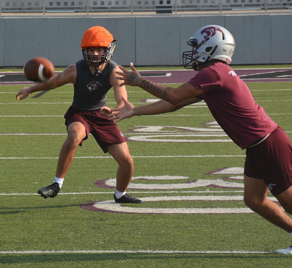 Graham Thomas/Herald-Leader Siloam Springs cornerback River Ward (left) and receiver Mark Lopez look to make a play on the ball Monday at Panther Stadium.