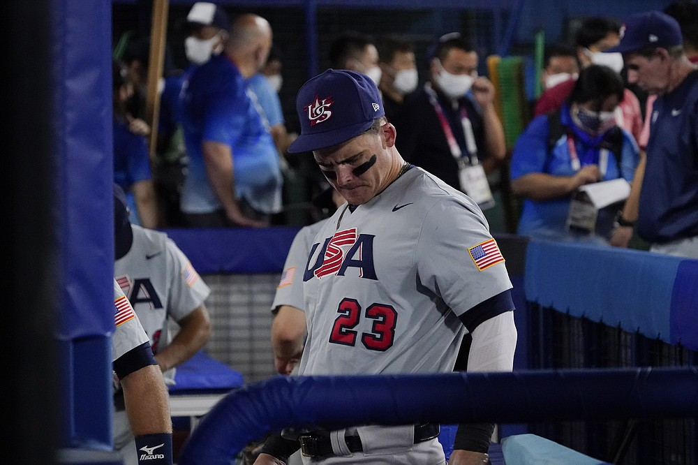 United States' Tyler Austin departs after a baseball game against Japan at the 2020 Summer Olympics, Monday, Aug. 2, 2021, in Yokohama, Japan. Japan won 7-6. (AP Photo/Sue Ogrocki)