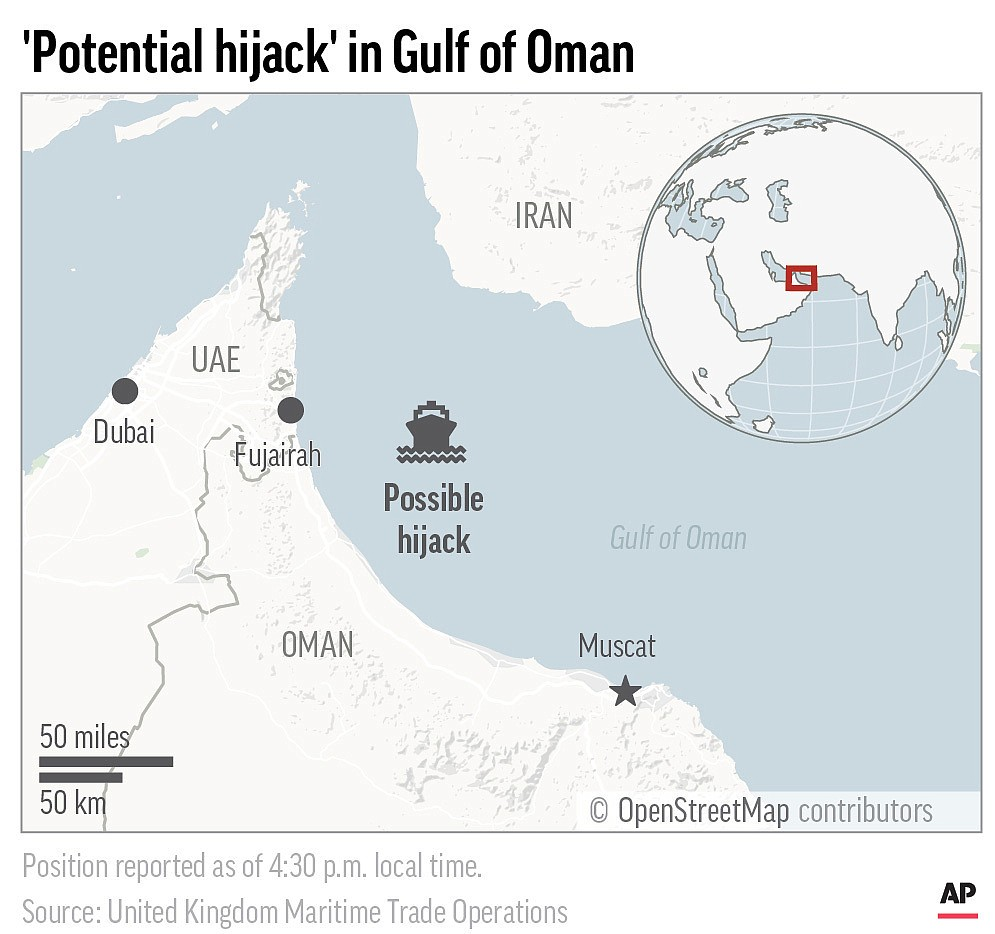 A ship in the Gulf of Oman may have been a hijacking target Tuesday. (AP Graphic)