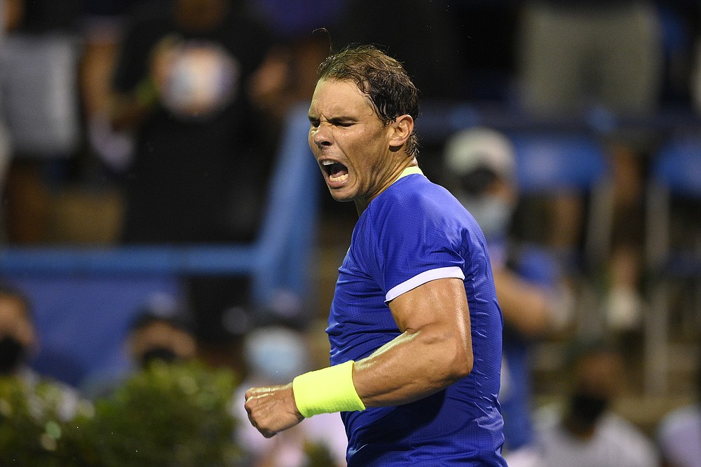 Rafael Nadal, of Spain, reacts to the crowd after he defeated Jack Sock, of the United States, at the Citi Open tennis tournament Wednesday, Aug. 4, 2021, in Washington. (AP Photo/Nick Wass)