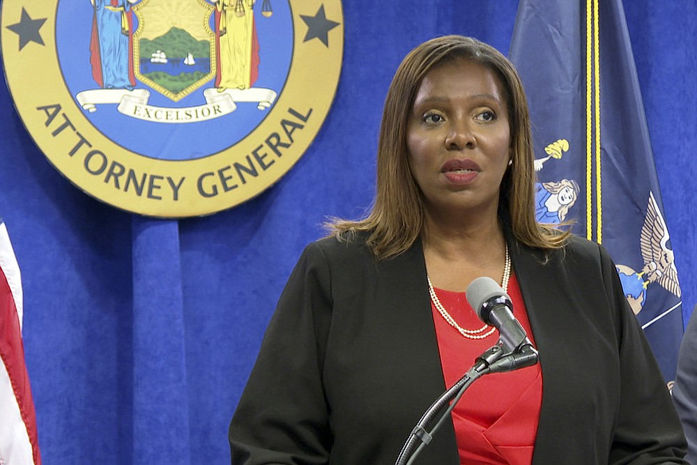 """New York State Attorney General Letitia James speaks at a news conference, Tuesday, Aug. 3, 2021, in New York. An investigation found that New York Gov. Andrew Cuomo sexually harassed multiple women in and out of state government and worked to retaliate against one of his accusers, James announced Tuesday. Now state lawmakers are telling Gov. Andrew Cuomo that their ongoing impeachment investigation is """"nearing completion"""" and gave him a deadline of Aug. 13 to provide additional evidence. (AP Photo/Ted Shaffrey)"""