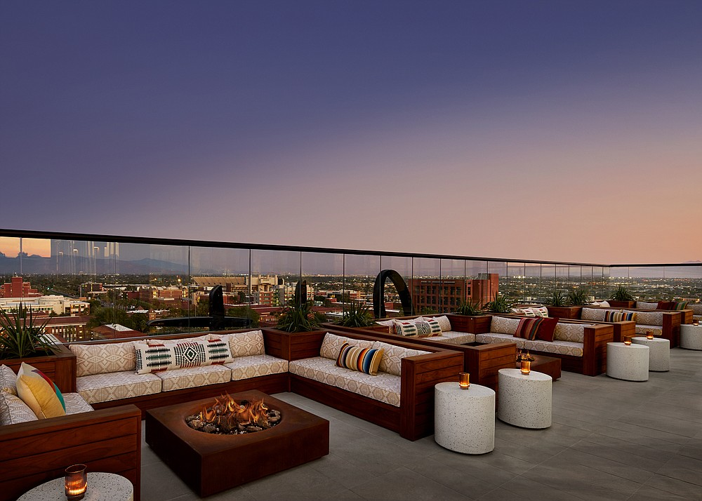 The rooftop at the Graduate Tucson. The 164-room hotel opened in October on the University of Arizona campus. (The Washington Post/David Mitchell)