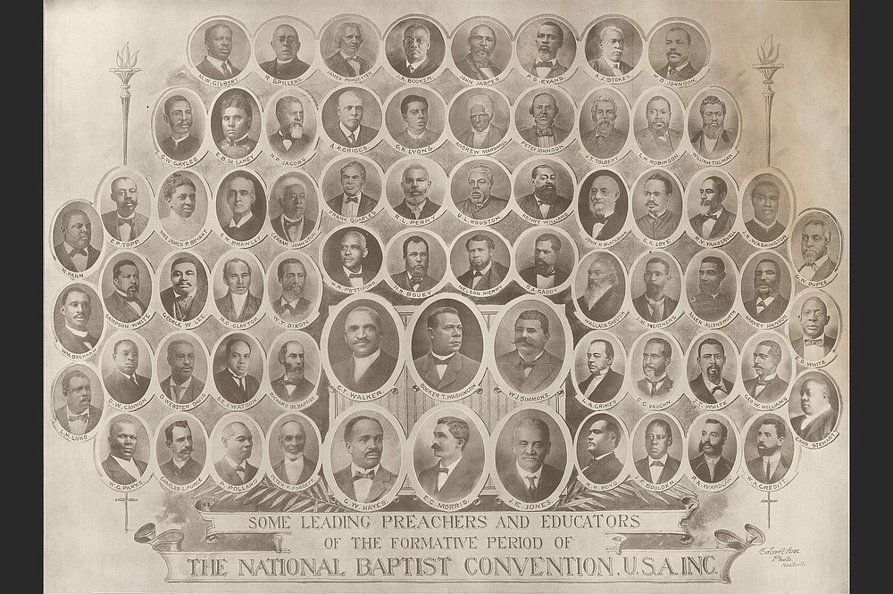 A collection of portrait photos of men and women influential to the National Baptist Convention and its forerunners includes Booker T. Washington (center, second row from bottom) and the Rev. E.C. Morris, (center, bottom). (Special to the Democrat-Gazette/Tennessee State Museum)
