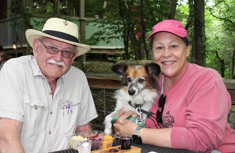 Wesley Stephens (from left), Tiberius and Nora Stephens enjoy Dog Days of Summer. (NWA Democrat-Gazette/Carin Schoppmeyer)