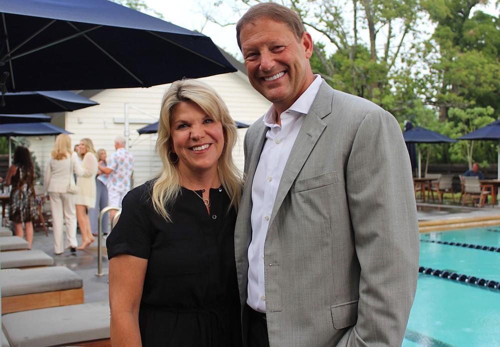 Sue and Charles Redfield enjoy the BFF opening reception. (NWA Democrat-Gazette/Carin Schoppmeyer)