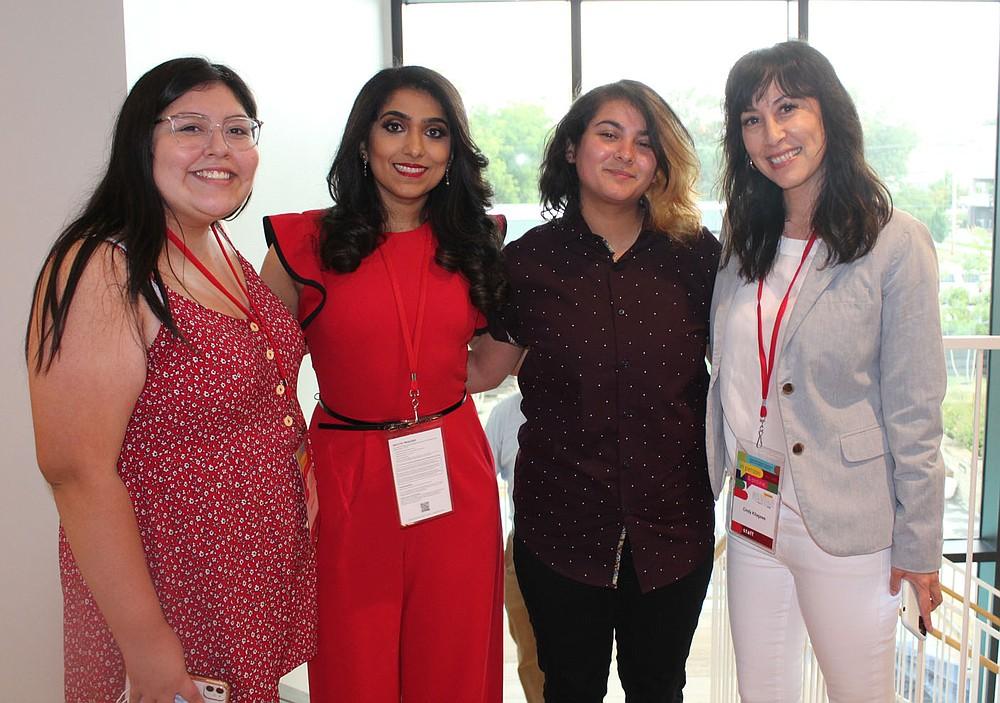 Bentonville Film Festival participants Gaby Arroyo (from left), Aizzah Fatima, Sativa Vela and Cindy Kitagawa attend the BFF opening reception Aug. 4 in Bentonville. (NWA Democrat-Gazette/Carin Schoppmeyer)