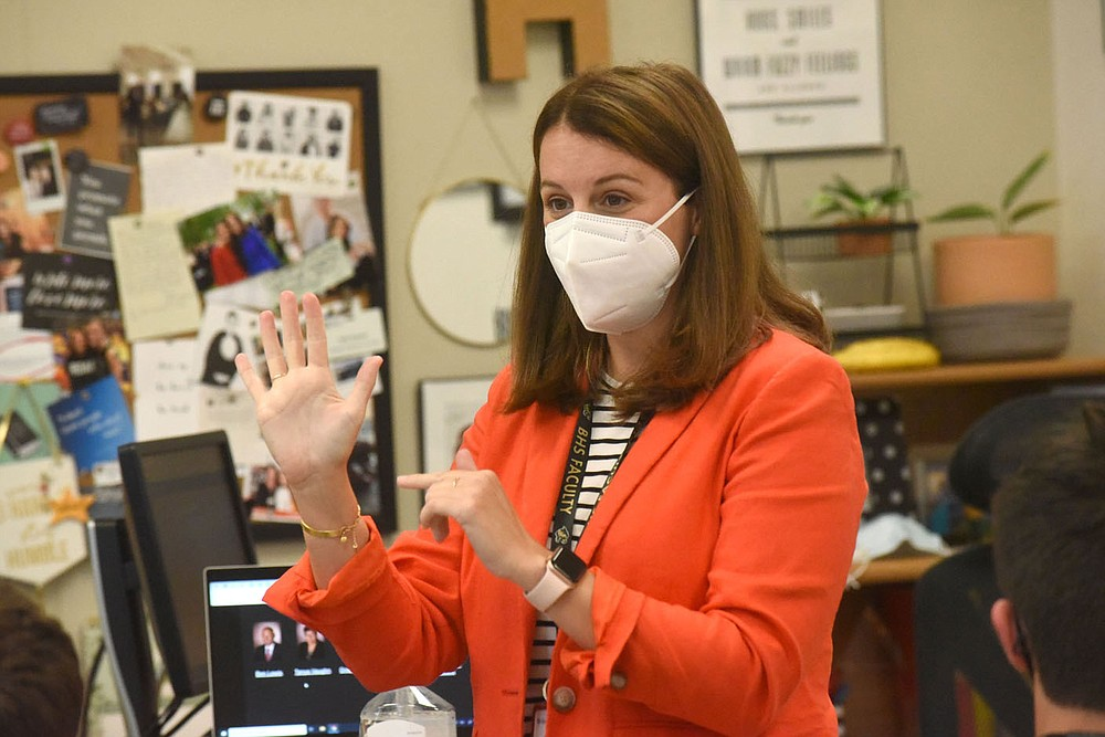 Holly Howard teaches in her classroom on Tuesday Aug. 17 2021 at Bentonville High School. (NWA Democrat-Gazette/Flip Putthoff)