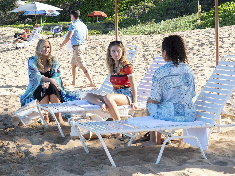 """Jennifer Coolidge, Sydney Sweeney, and Brittany O'Grady star in Mike White's """"The White Lotus."""" (HBO)"""