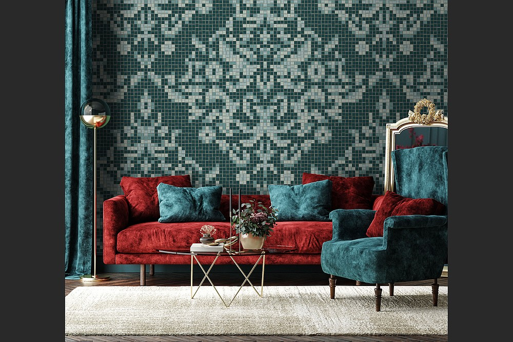 Artaic's Dramati Turquoise from the Ornamental & Damask Collection was created with proprietary robotic technology and Tylist software. (Artaic via AP)