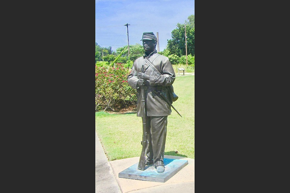 A statue of a Black Union soldier stands in Helena-West Helena's Freedom Park. (Special to the Democrat-Gazette/Marcia Schnedler)