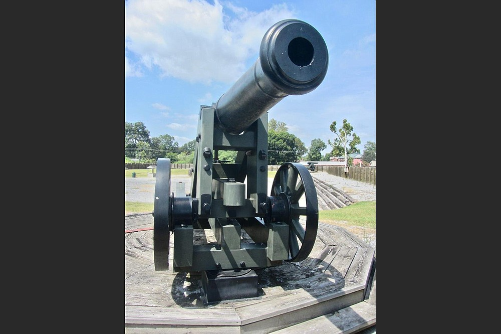 A copy of a powerful Civil War cannon can be seen in the replica of Fort Curtis. (Special to the Democrat-Gazette/Marcia Schnedler)
