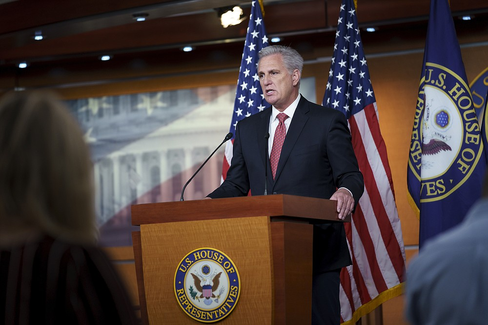 House Minority Leader Kevin McCarthy, R-Calif., speaks during his weekly news conference at the Capitol in Washington, Wednesday, Aug. 25, 2021. (AP Photo/J. Scott Applewhite)