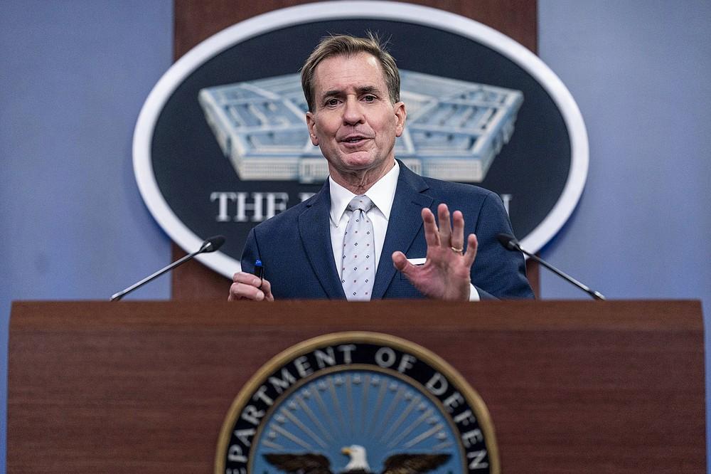 Pentagon spokesman John Kirby speaks during a briefing at the Pentagon in Washington, Wednesday, Aug. 25, 2021. (AP Photo/Andrew Harnik)