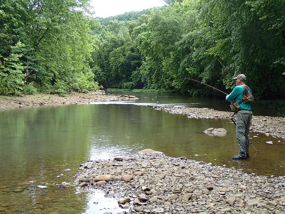 Bodishbaugh likes low water when he goes fishing on Ozark streams like the Kings River. (NWA Democrat-Gazette/Flip Putthoff)