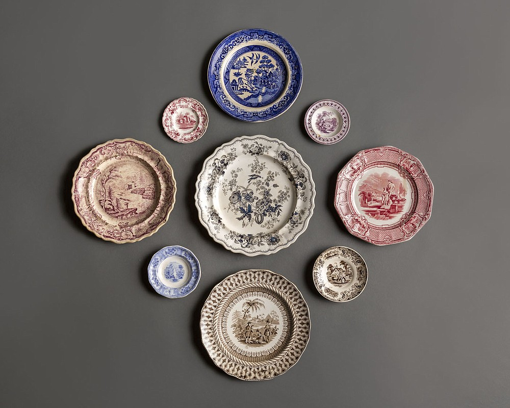 Assorted plates, transfer prints, ceramic, 1830-1850, American and British, collection of Historic Arkansas Museum. Part of the Conspicuous Consumption exhibit at Historic Arkansas Museum. Special to the Democrat-Gazette Rett Peek.