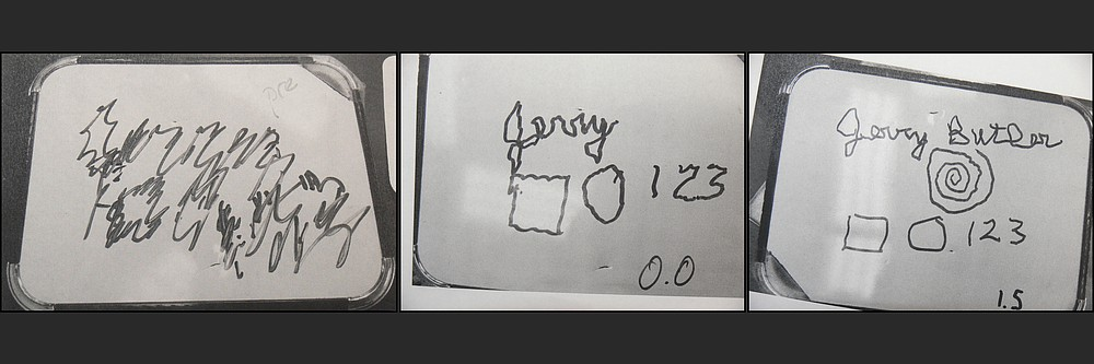 As Jerry Butler's deep brain stimulation procedure progressed, his ability to write his name and the numbers 1, 2 and 3, and to draw a square, a circle and a spiral improved. (Special to the Democrat-Gazette/Jerry Butler)
