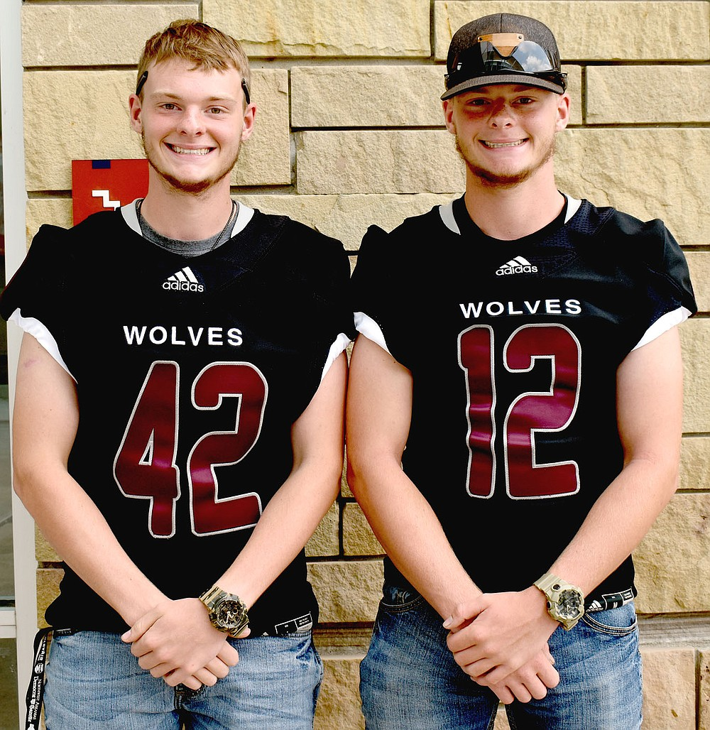 MARK HUMPHREY  ENTERPRISE-LEADER/Identical twin brothers, Blake (left) and Brodey Bowen brim with excitement over a chance to play together for their senior season. The twins haven't played on the same team together since pee wee and plan to maximize every opportunity. Blake transferred from South Grand Prairie, a Class 6A high school in Texas.
