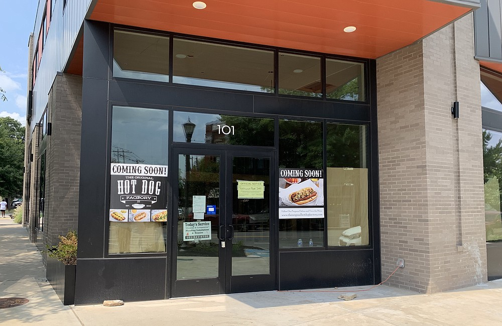 Construction and installations continue at The Original Hot Dog Factory, 1424 Main St., Little Rock, expected to open later in September. (Arkansas Democrat-Gazette/Eric E. Harrison)