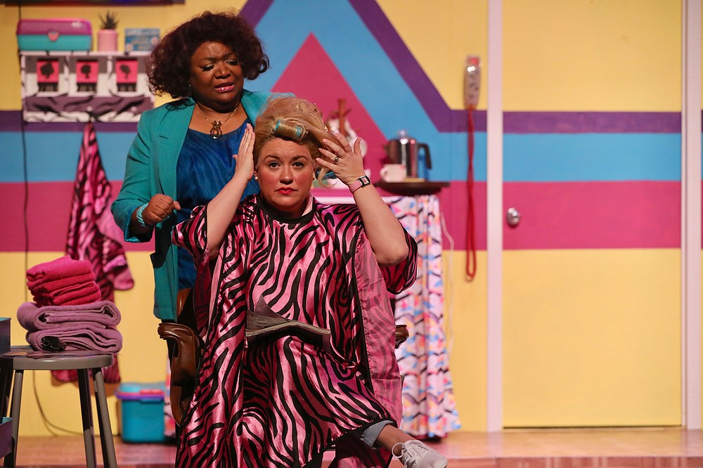 """Andrea Robinson (top) plays Truvy with Laura Grimes as Shelby in """"Steel Magnolias"""" at Argenta Community Theater. (Special to the Democrat-Gazette/Warren McCullough)"""