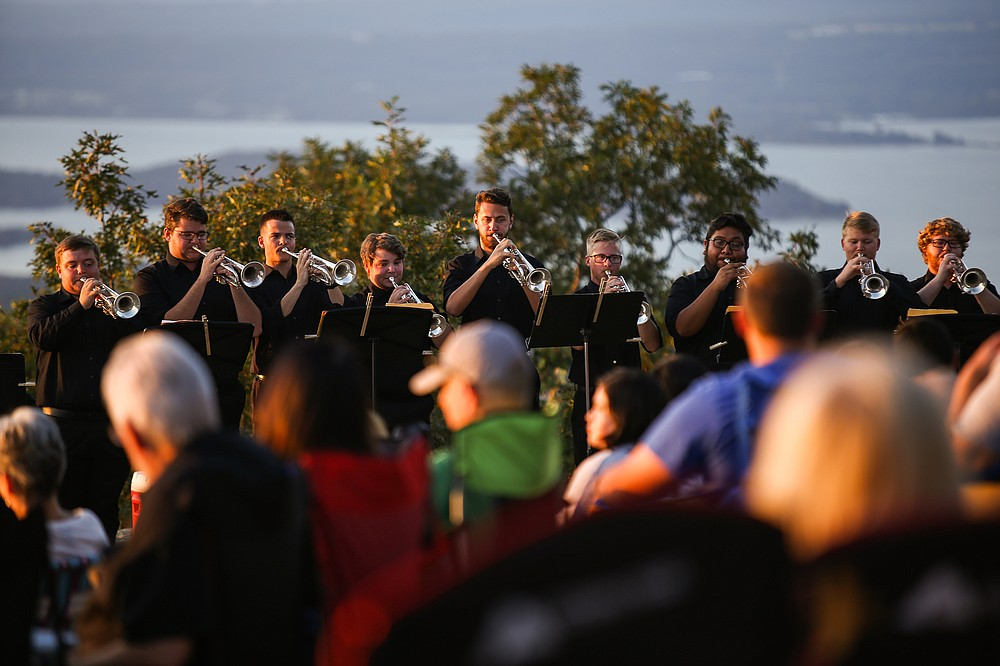 """Arkansas Tech University brass players perform for """"Brass in the Clouds"""" Saturday at Mount Nebo State Park. (Special to the Democrat-Gazette)"""