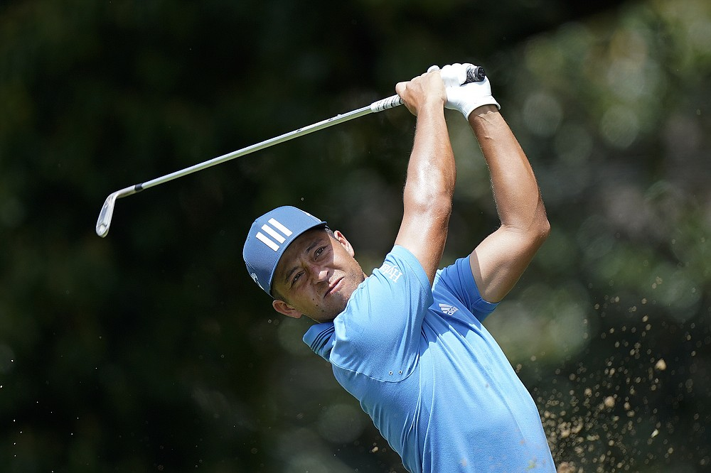 Xander Schauffele hits on the second tee during the first round of the Tour Championship golf tournament Thursday, Sept. 2, 2021, at East Lake Golf Club in Atlanta. (AP Photo/Brynn Anderson)