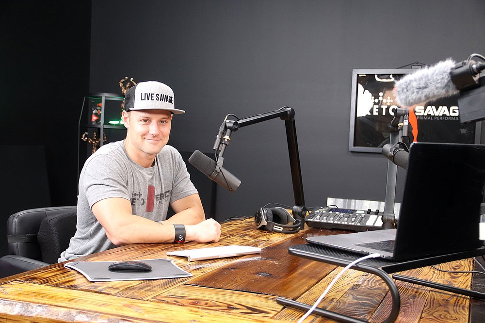 Robert Sikes has a podcast called Keto Savage and his setup is in his office for Savage Sports, located in the former Harps grocery store in Lincoln.