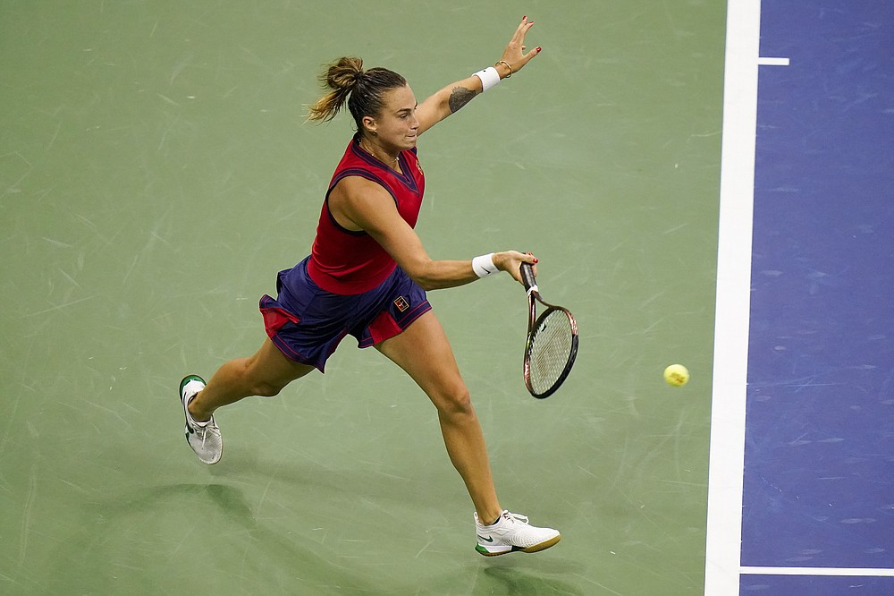 Aryna Sabalenka,of Belarus, returns a shot to Leylah Fernandez, of Canada, during the semifinals of the US Open tennis championships, Thursday, Sept. 9, 2021, in New York. (AP Photo/Frank Franklin II)