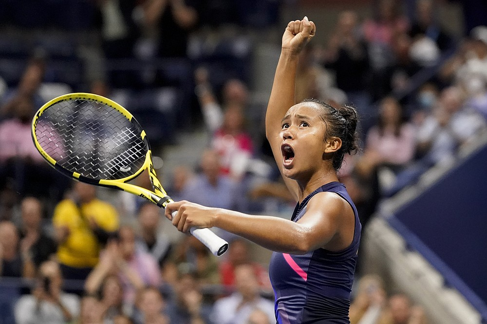 Leylah Fernandez, of Canada, reacts after winning the first set against Aryna Sabalenka,of Belarus, during the semifinals of the US Open tennis championships, Thursday, Sept. 9, 2021, in New York. (AP Photo/Elise Amendola)