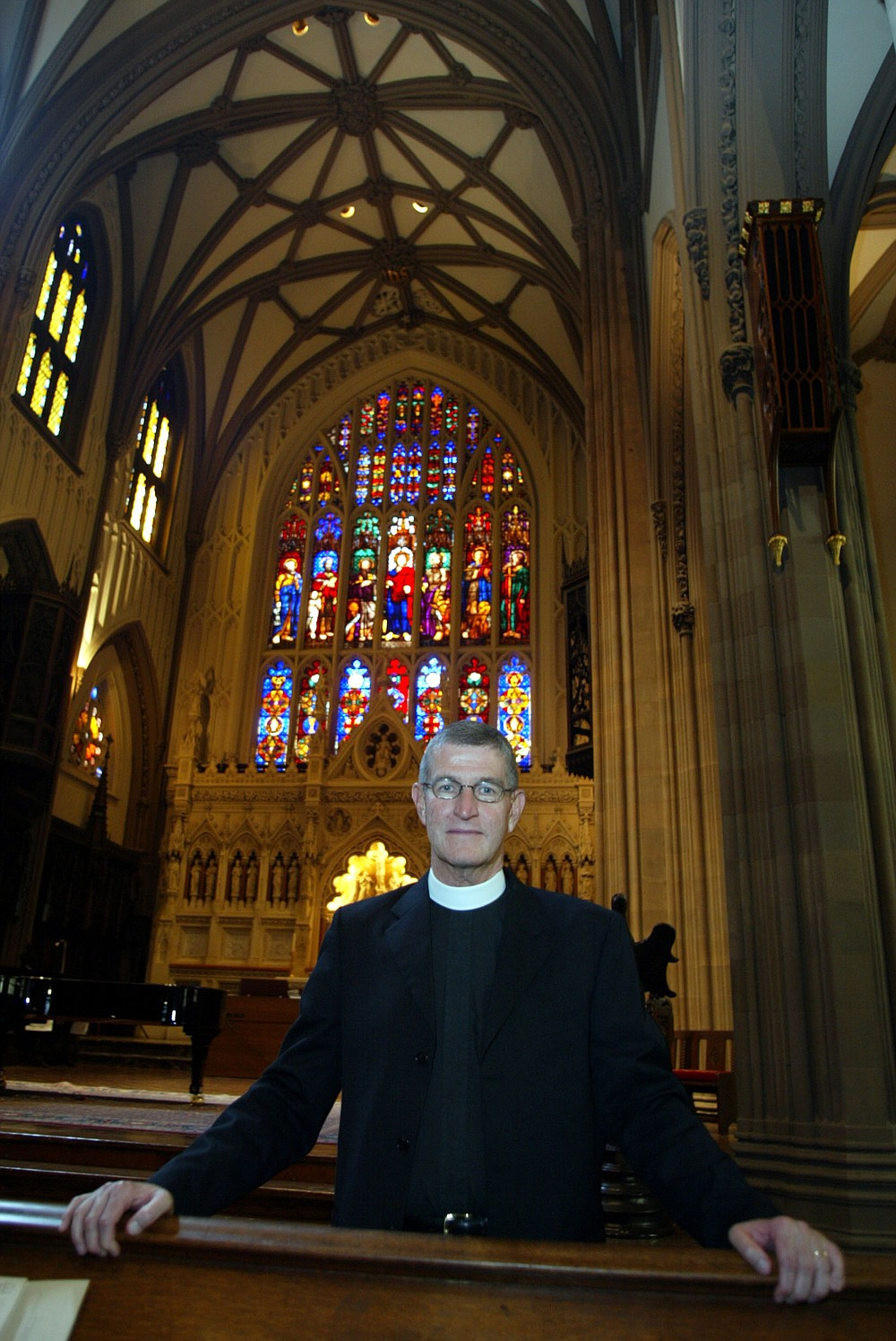 The Rev. Stuart Hoke, formerly of Blytheville, in Trinity Church in New York City in September, 2002. Hoke, then the executive assistant to the Rector of The Parish of Trinty Church of New York City, delivered a church service to those seeking refuge in Trinity Church, as the twin towers of the World Trade Center burned some 200 yards away. They were ordered to evacuate after the first tower collapsed. (Arkansas Democrat-Gazette/Rick McFarland)
