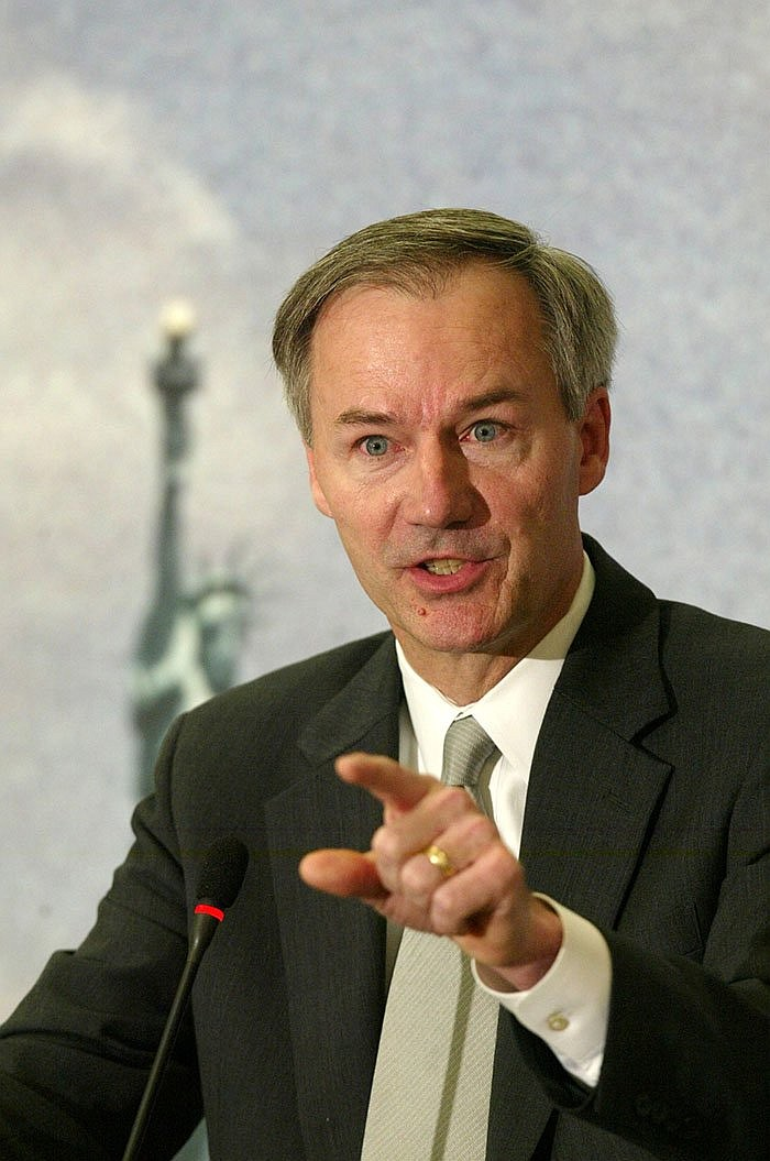 Then-Homeland Security Undersecretary Asa Hutchinson gestures during a news conference at the Center for Strategic & International Studies (CSIS) in Washington Monday, May 19, 2003, where he released details of the U.S. Visitor and Immigration Status Indication Technology, (US Visit) program that was to track the comings and goings of tourists, students and business travelers from foreign countries. (AP Photo/Rick Bowmer)
