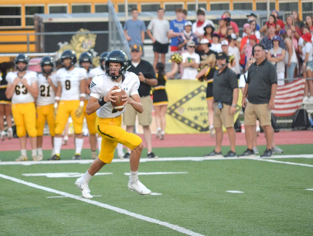 ANNETTE BEARD PEA RIDGE TIMES/Prairie Grove quarterback prepares to pass Friday, Sept. 10, 2021. The Tigers came in wanting to produce more consistency in their passing game.