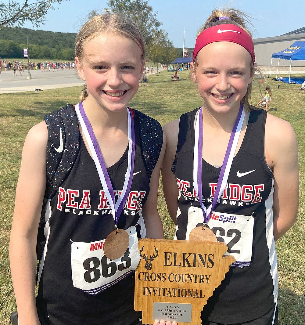 Jr. High Girls 4A-5A division Elkins invitational individual awards were earned by, from left, Brenna Walker, 4th, and Bailey Walker, 7th.