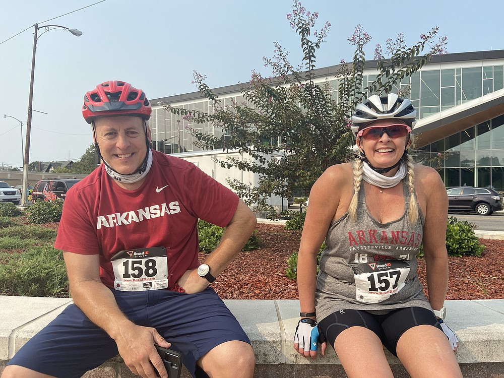 Cymber Tadlock of Pine Bluff and her riding partner, Jeff March of Conway, rode the 23-mile route through Jefferson County on Saturday.  (Special to The Commercial/Deborah Horn)