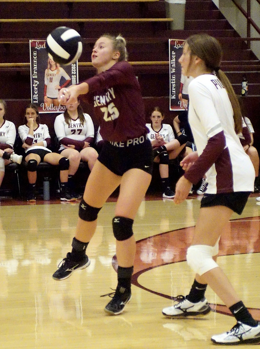 Westside Eagle Observer/RANDY MOLL Gentry senior Liberty Brannon receives a serve when the Lady Pioneers hosted the Lady Blackhawks from Pea Ridge on Thursday.