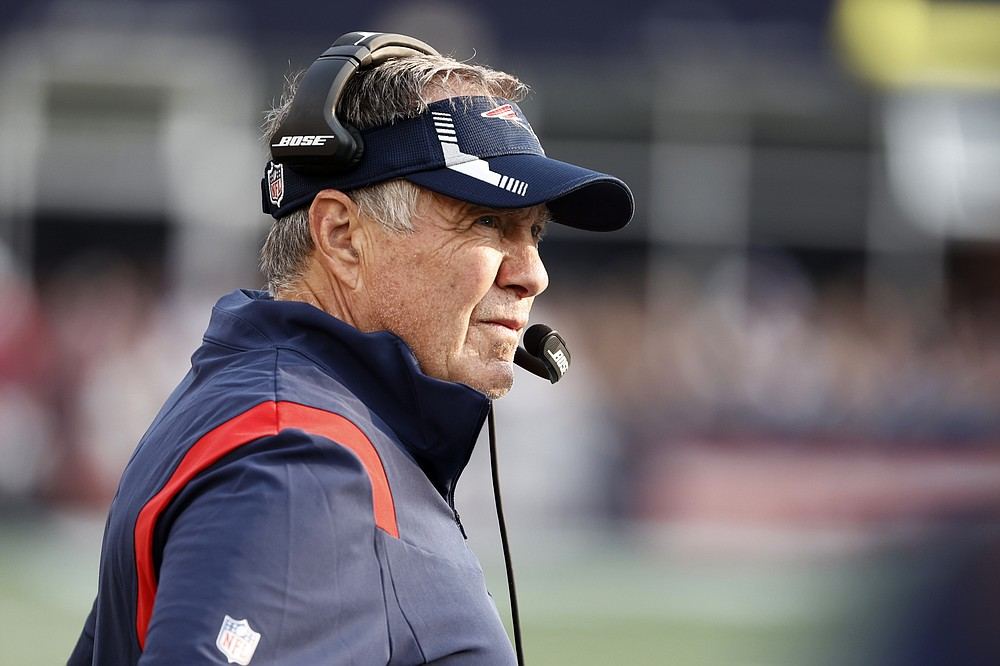 New England Patriots head coach Bill Belichick watches play during the first half of an NFL football game against the Miami Dolphins, Sunday, Sept. 12, 2021, in Foxborough, Mass. (AP Photo/Winslow Townson)