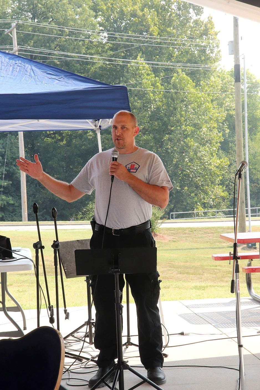 Farmington Fire Chief Bill Hellard addressed those at the Farmington Fall Festival on Saturday to commemorate the 20th anniversary of 9-11.