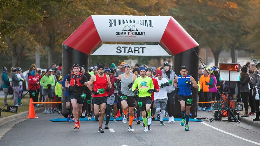 Half marathon start line in 2019 Spa Running Festival.