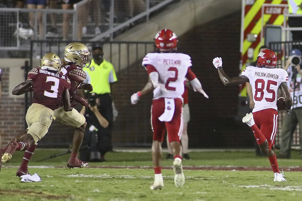 Jacksonville State's Damond Philyaw-Johnson (85) heads for the end zone after catching a pass for the winning touchdown at the end of the fourth quarter in the team's NCAA college football game against Florida State on Saturday, Sept. 11, 2021, in Tallahassee, Fla. Jacksonville State won 20-17. (AP Photo/Phil Sears)