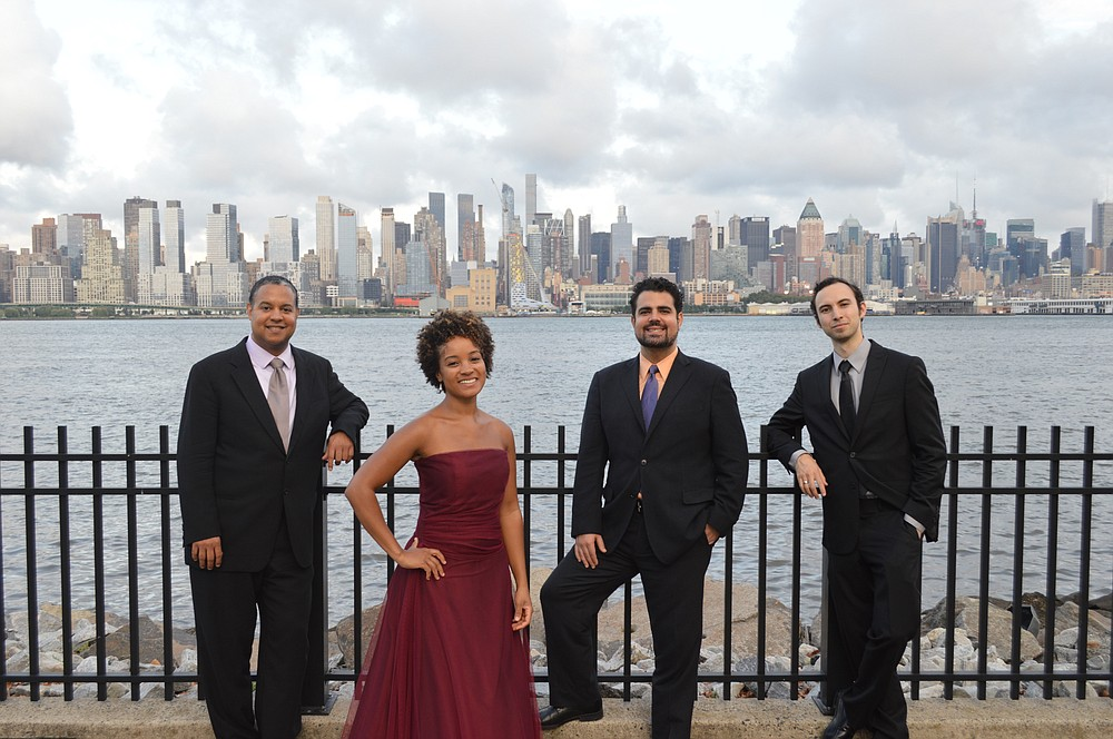 The Harlem Quartet — (from left) Ilmar Gavilan and Melissa White, violins; Jaime Amador, viola; and Felix Umansky, cello — performs today at Little Rock's Ron Robinson Theatre. (Special to the Democrat-Gazette)
