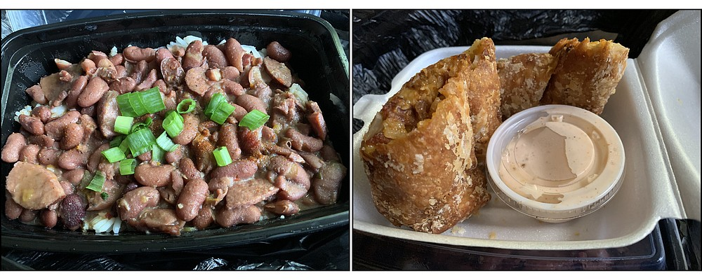 Red beans and rice and jambalaya egg rolls are among the authentic Cajun offerings from The Cajun Trouxth food truck. (Arkansas Democrat-Gazette/Eric E. Harrison)