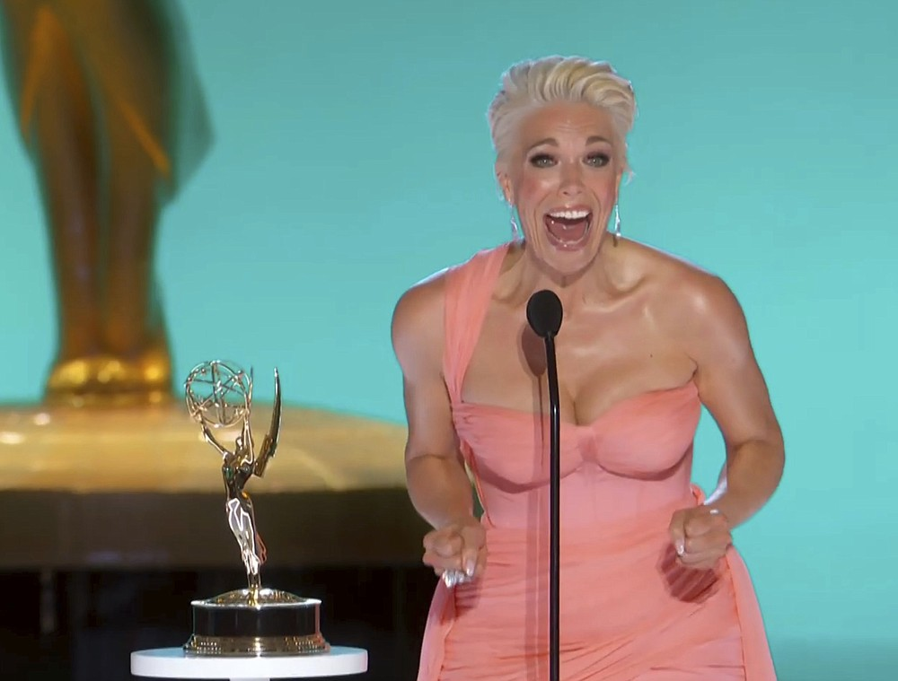 """In this video grab issued Sunday, Sept. 19, 2021, by the Television Academy, Hannah Waddingham accepts the award for outstanding supporting actress in a comedy series for """"Ted Lasso"""" at the 73rd Primetime Emmy Awards at L.A. Live in Los Angeles. (Television Academy via AP)"""
