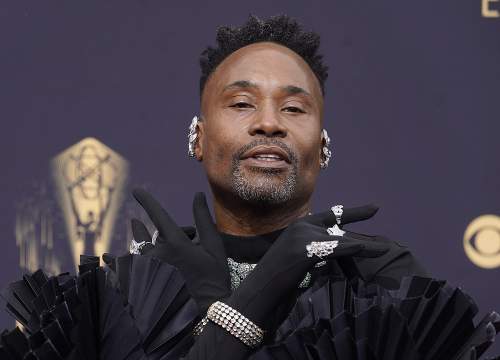 Billy Porter arrives at the 73rd Primetime Emmy Awards on Sunday, Sept. 19, 2021, at L.A. Live in Los Angeles. (AP Photo/Chris Pizzello)