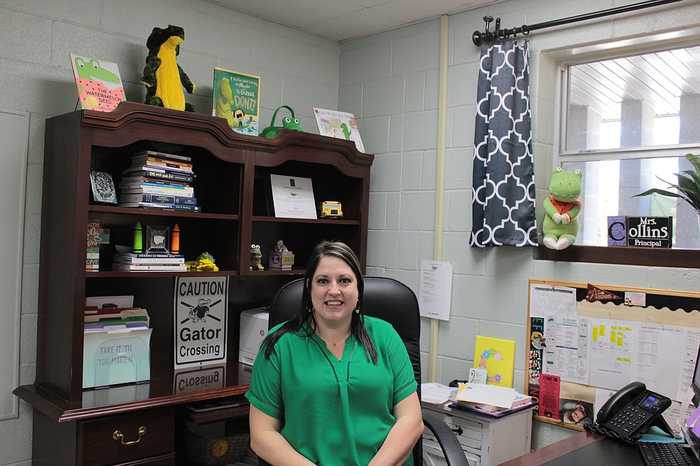 Hugh Goodwin Principal Jesica Collins is pictured in her office on Wednesday, Sept. 23. Collins planned to announce Hugh Goodwin's recognition as a National Blue Ribbon School to her staff that afternoon. (Caitlan Butler/News-Times)