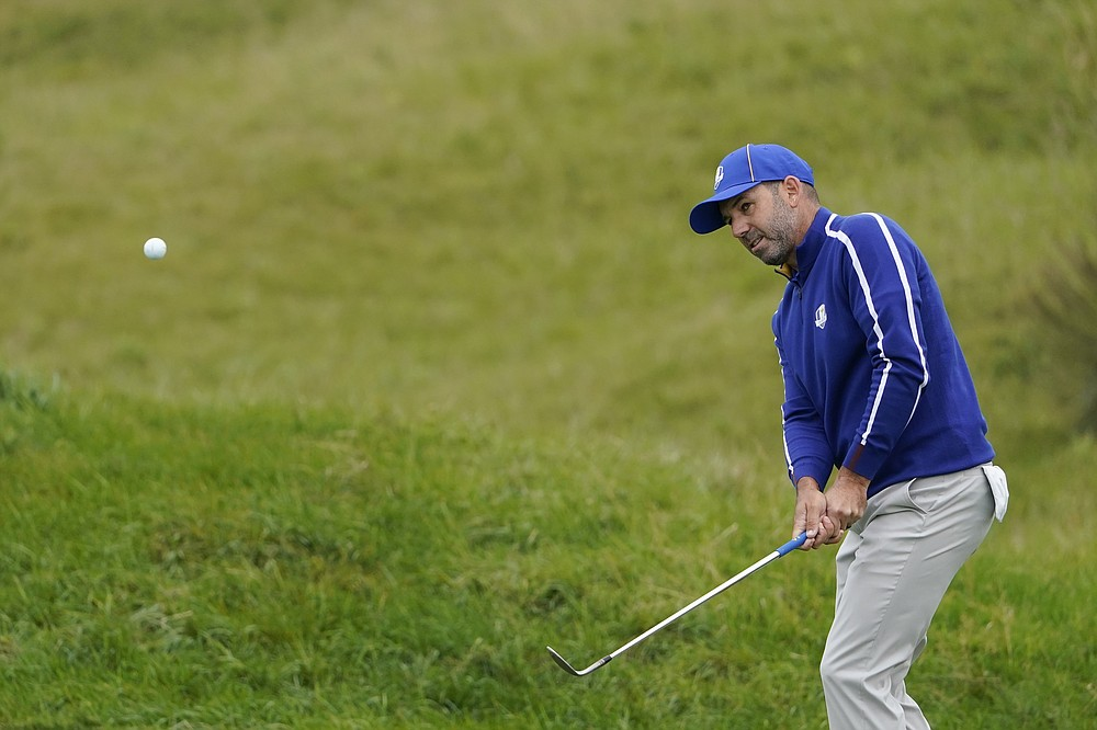 Team Europe's Sergio Garcia hits the 11th green during a day of Ryder Cup practice at the Whistling Straits Golf Course on Tuesday September 21, 2021 in Sheboygan, Wis. (AP Photo / Jeff Roberson)