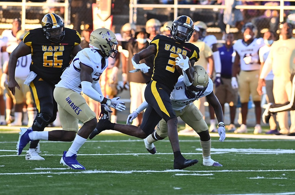 UAPB wide receiver Josh Wilkes outruns Alcorn State defenders Juwan Taylor (21) and Keyron Kinsler Jr. (5) on a first-quarter completion Thursday at Simmons Bank Field. (Special to The Commercial/Darlena Roberts)