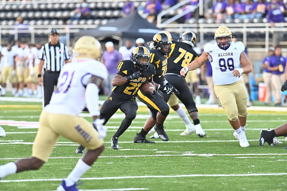 UAPB running back Kierre Crossley (21) finds running room against Alcorn State in the first quarter Thursday. (Special to The Commercial/Darlena Roberts)