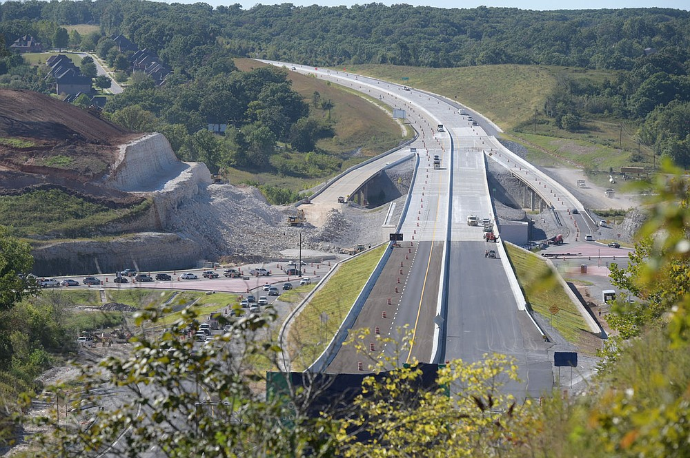 A look north at the Interstate 49 bypass at U.S. 71 in Bella Vista. After decades of planning and work, the new Bella Vista Bypass is ready to open for traffic. Go to nwaonline.com/210926Daily/ for more photos. (NWA Democrat-Gazette/Spencer Tirey)