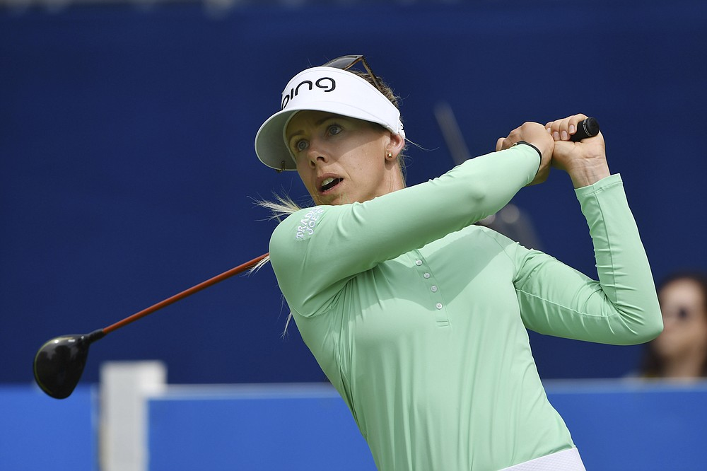 Pernilla Lindberg of Sweden watches her tee shot from the 9th tee during the first round of the LPGA Walmart NW Arkansas Championship golf tournament on Friday, September 24, 2021 in Rogers, Ark.  (AP Photo / Michael Woods)